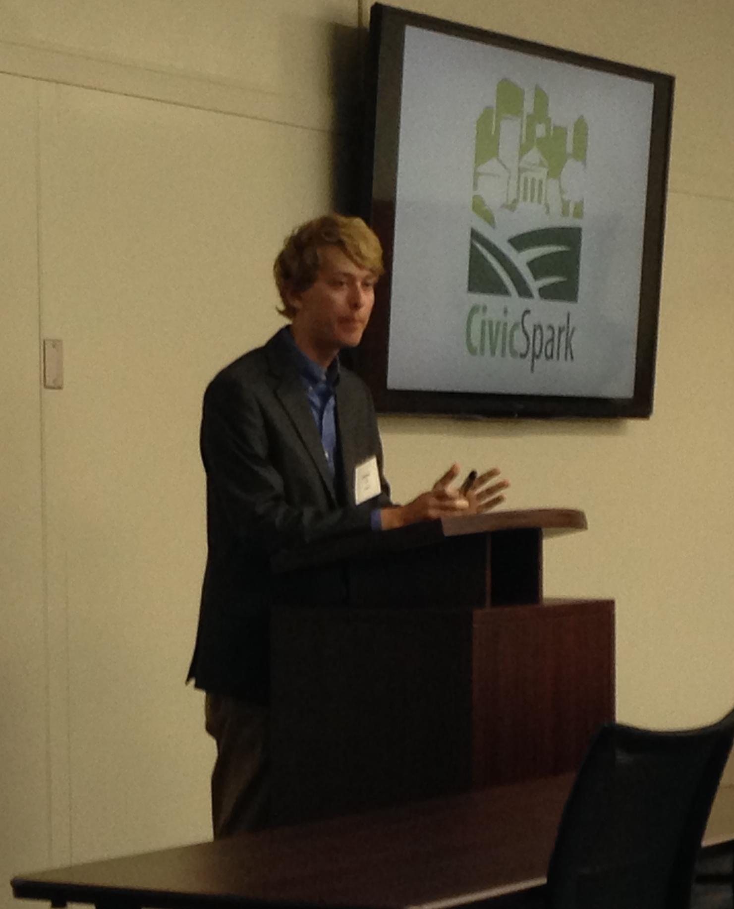Civicspark member, Andrew Kopp, describes program details to our audience